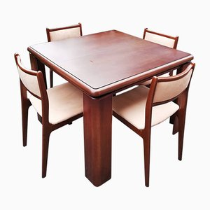 Vintage Wood & Velvet Dining Table Chairs, Set of 5