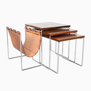 Tavolini ad incastro in palissandro, Paesi Bassi, anni '60, set di 3