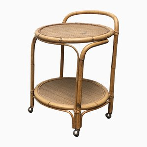 Vintage Italian Rattan & Bamboo Serving Trolley from Dal Vera