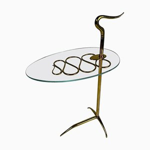 Mid-Century Italian Brass and Glass Serving Table