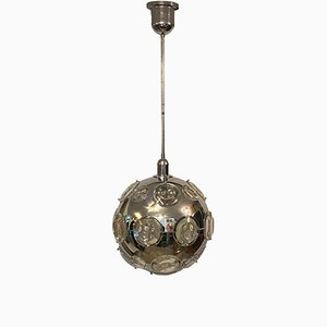 Steel and Oculus Glass Orb Chandelier by Oscar Torlasco for Lumi, Italy, 1960s