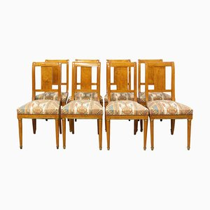 Empire Style French Elm Dining Chairs, 1920s, Set of 8