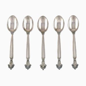 Coffee Spoons in Sterling Silver by Georg Jensen Acanthus, Set of 5