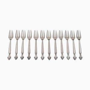Forchette da pasticceria in argento di Georg Jensen Acanthus, set di 12