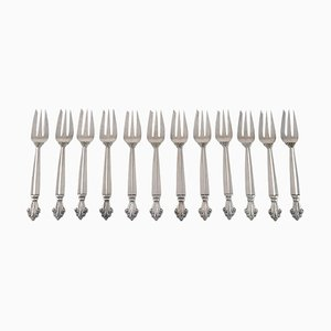Pastry Forks in Sterling Silver by Georg Jensen Acanthus, Set of 12