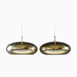 Scandinavian Mid-Century Brass Pendants by Falkenberg, Set of 2