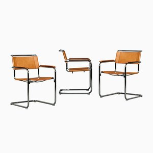 Thonet S34 Cognac Leather Chair by Mart Stam