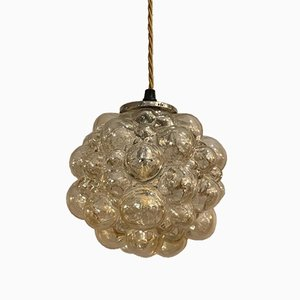 Amber Glass Bubble Pendant Light by Helena Tynell, 1970s