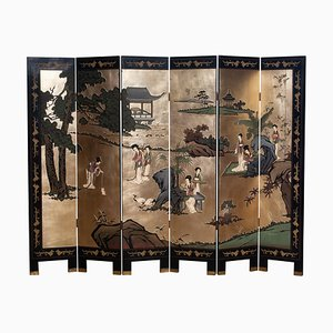 Polychromed Gold Leaf Chinoiserie Double Face Folding Green / Room Divider, 1970s