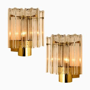 Clear Glass and Brass Wall Lights by J. T. Kalmar, Austria, 1960s, Set of 2