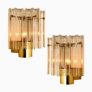 Lampade da parete in vetro trasparente e ottone di JT Kalmar, Austria, anni '60, set di 2