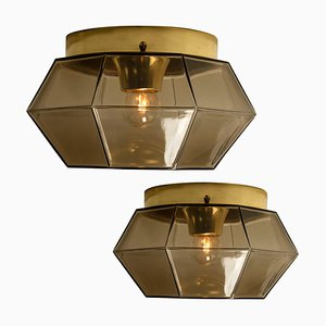 Geometric Smoked Glass and Brass Flush Mount / Wall Lights from Limburg, Set of 2