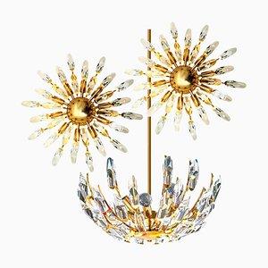 Crystal and Gilded Brass Italian Light Fixtures from Stilkronen, Set of 3