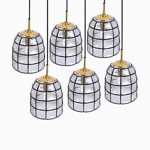Lampada in ferro e vetro chiaro di Limburg, 1965