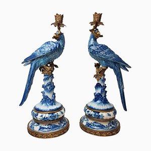 Gilt Brass Porcelain Parrot Standing Candlesticks, Set of 2