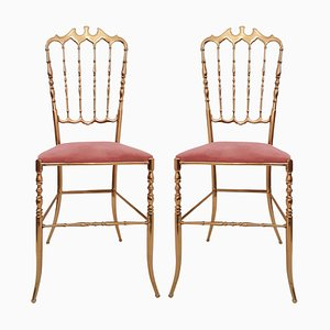 Italian Brass Chairs from Chiavari Upholstered in Pink Velvet, Set of 2