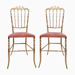 Italienische Messing Stühle von Chiavari in Rosa Samt, 2er Set