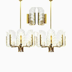 Leaves Brass Light Fixtures from Orrefors, 1960s, Sweden, Set of 4