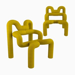 Yellow Lounge Chair by Terje Ekstrom, Norway, 1980s, Set of 2