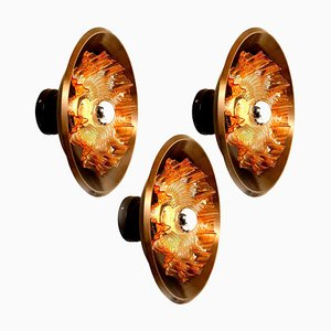 Dark Brass and Glass Sconces from Raak, The Netherlands, 1970s
