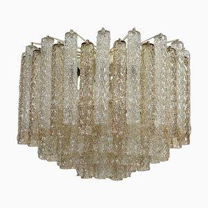 Venini Metal Blown Glass Ceiling Lamp, 1960s