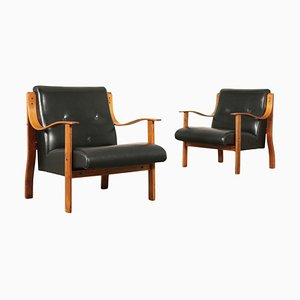 Armchairs by Mario Bellini Stained Beech, 1960s, Set of 2