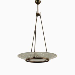 Lampada da soffitto in ottone e vetro, Italia, anni '50