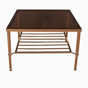 Large French Brass and Glass Table, 1950s