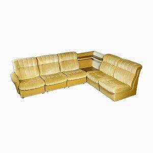 Vintage Yellow Velvet Modular Corner Sofa, 1970s, Set of 6