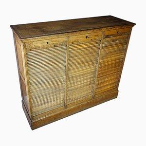 Antique Belgian Tambour Cabinet, 1930s