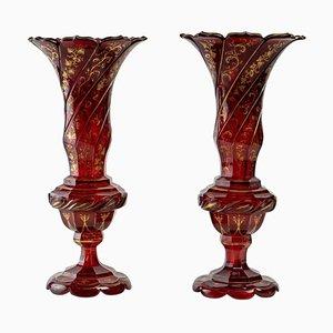 Vasi in cristallo rosso scuro, set di 2