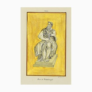 Unknown - Michelangelo's Moses - Etching - 20th-Century