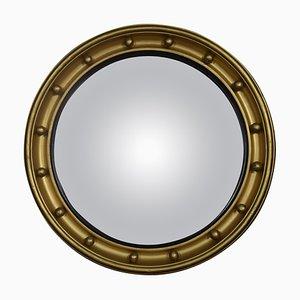Runder Gewölbter Spiegel aus vergoldetem Holz und Gesso