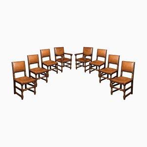 Eichenholz Esszimmerstühle mit Lederbezug, 8er Set