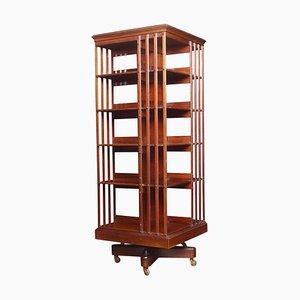Großes drehbares Bücherregal aus Mahagoni