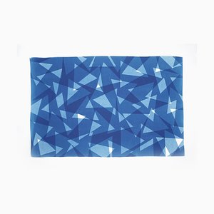 Geometric Triangles Pattern Print, Cutout Layer Paper Cyanotype In Blue Tones, 2021