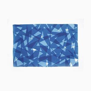 Geometrischer Musterdruck mit Dreiecken, Cutout Layer Paper Cyanotypie In Blue Tones, 2021