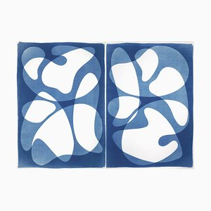 Diptych of Curved Geometry, Cutout Layers Cyanotype Duo, 2021