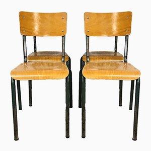 Französische Schulstühle, 1960er, 4er Set