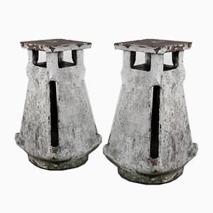 Terracotta Factory Roof Vents, Set of 2
