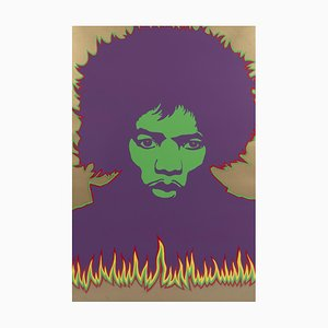 Sérigraphie Larry Smart, Fire Jimi Hendrix, 1967
