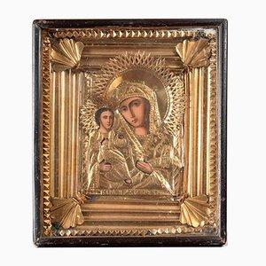Icône de la Vierge et de l'Enfant de la Fin du 19ème Siècle