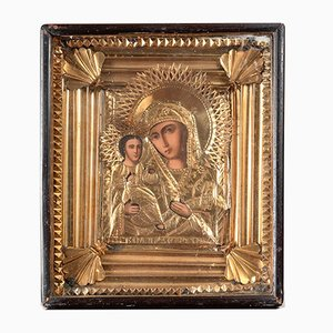 Late 19th Century Icon of Madonna and Child