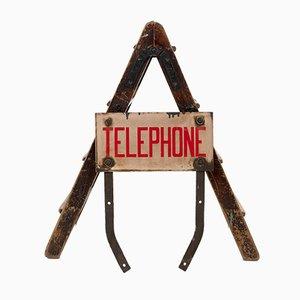 Insegna telefonica smaltata, anni '50