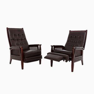 Leather Recliners, 1970s, Set of 2