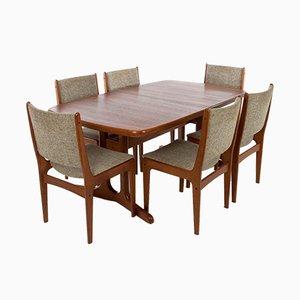 Tavolo da pranzo con sedie di AM Møbler, Danimarca, anni '70, set di 7