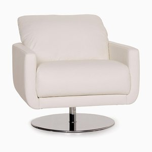 White Leather Armchair by Willi Schillig