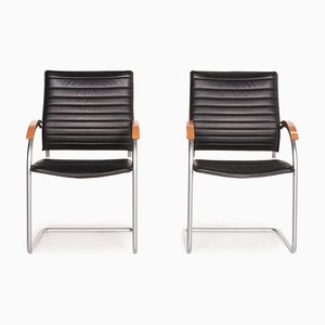 Thonet S 74 Black Leather Cantilever Chairs, Set of 2