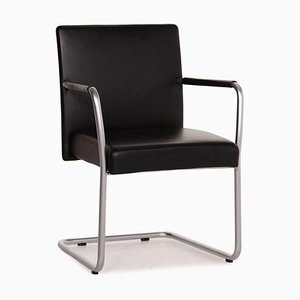 1519 Jason Black Leather Chair by Walter Knoll