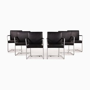 1519 Jason Black Leather Chairs by Walter Knoll, Set of 6